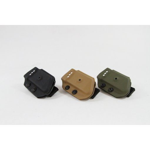 Our Hi Capa shooters style mag holsters have been redesigned from their larger big brother. The are shorter, lighter and have more aggressive styling but still offer the same great retention. The work perfectly on our shooters belt.
